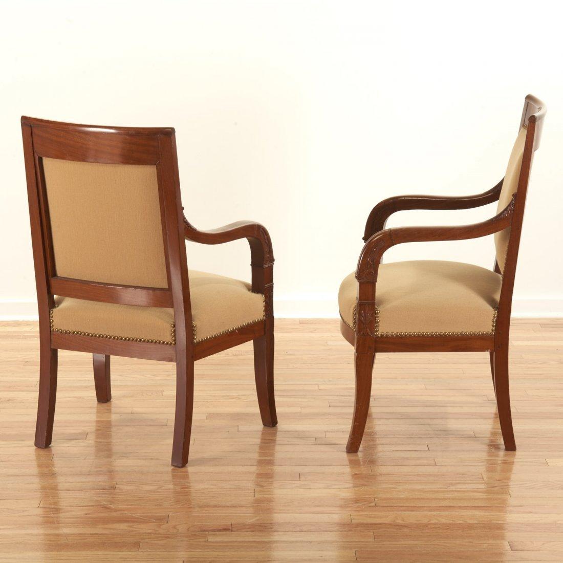 Pair Restauration style mahogany armchairs - 3