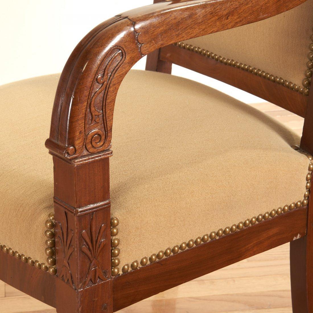 Pair Restauration style mahogany armchairs - 4