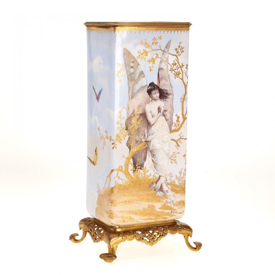 Gilt bronze mounted porcelain vase signed Baston