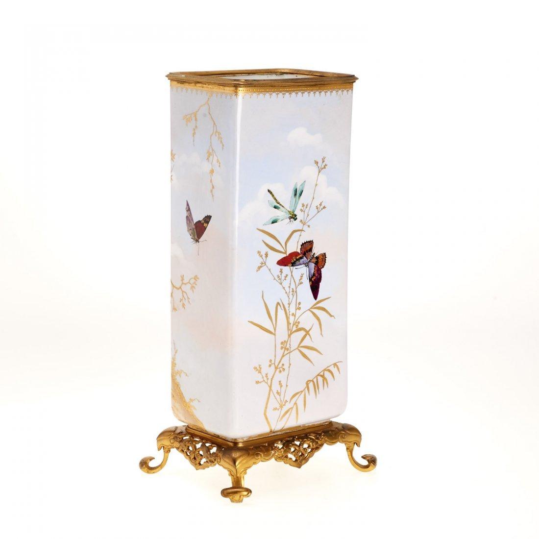 Gilt bronze mounted porcelain vase signed Baston - 5