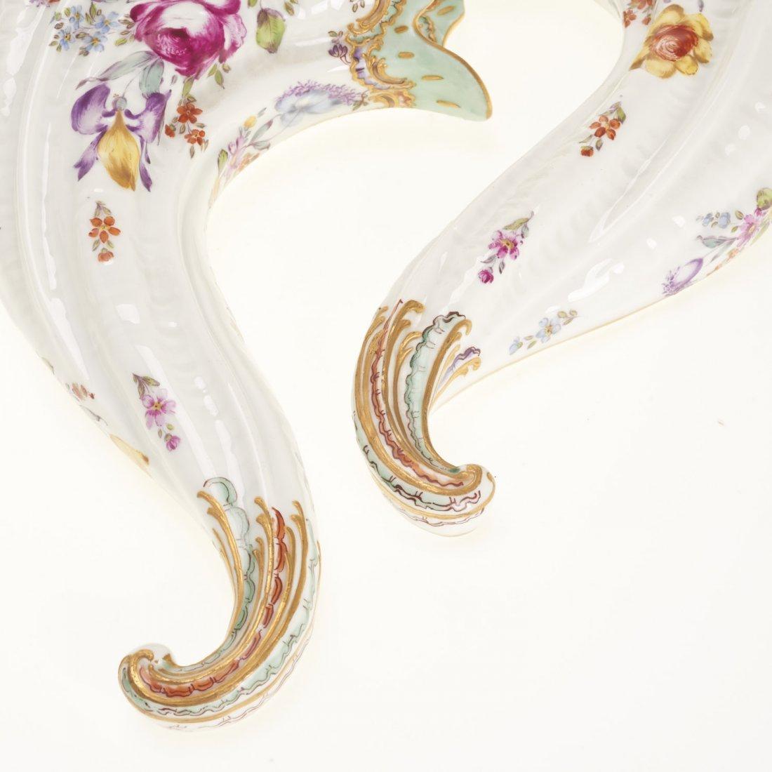 (2) Pr Antique Continental porcelain wall pockets - 2