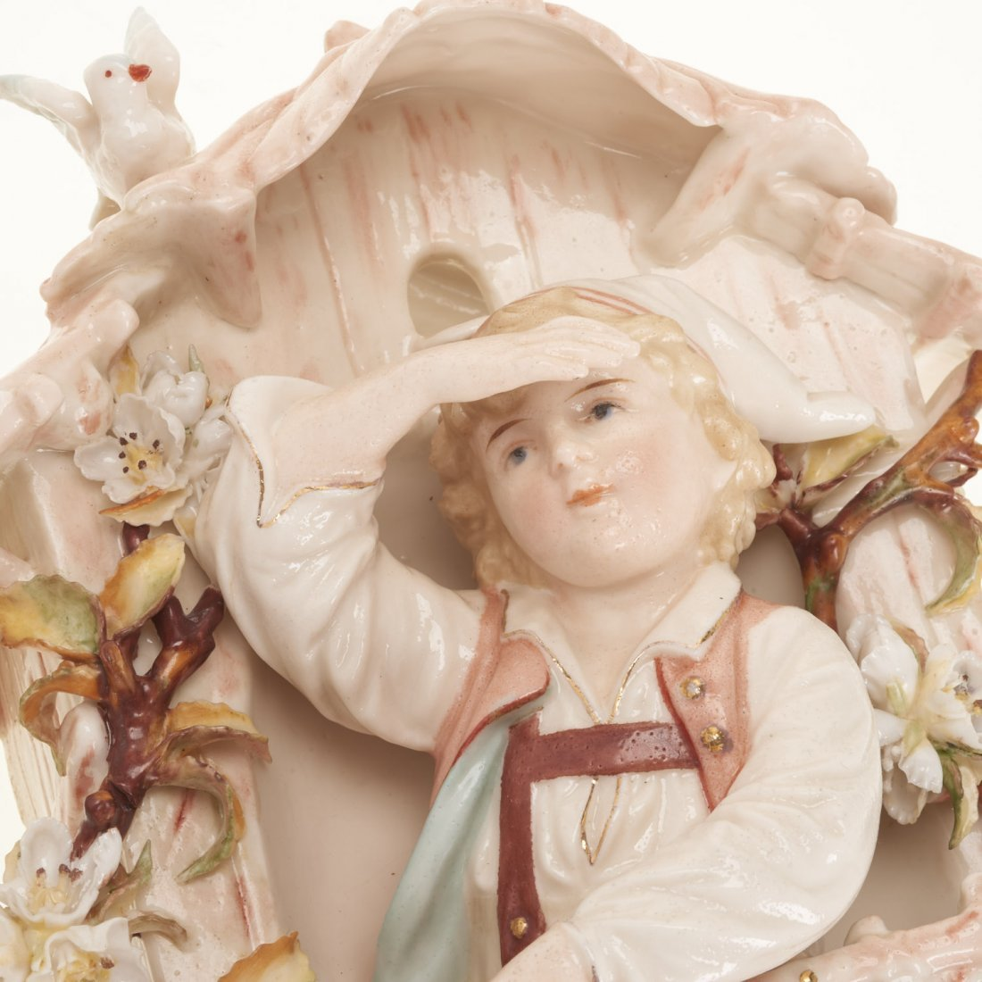 (2) Pr Antique Continental porcelain wall pockets - 4