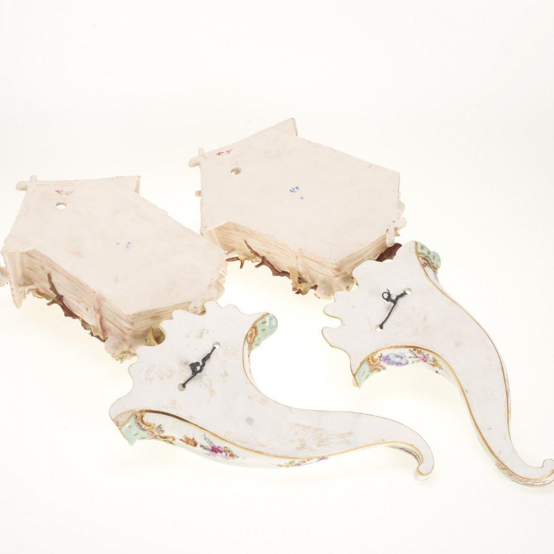 (2) Pr Antique Continental porcelain wall pockets - 8