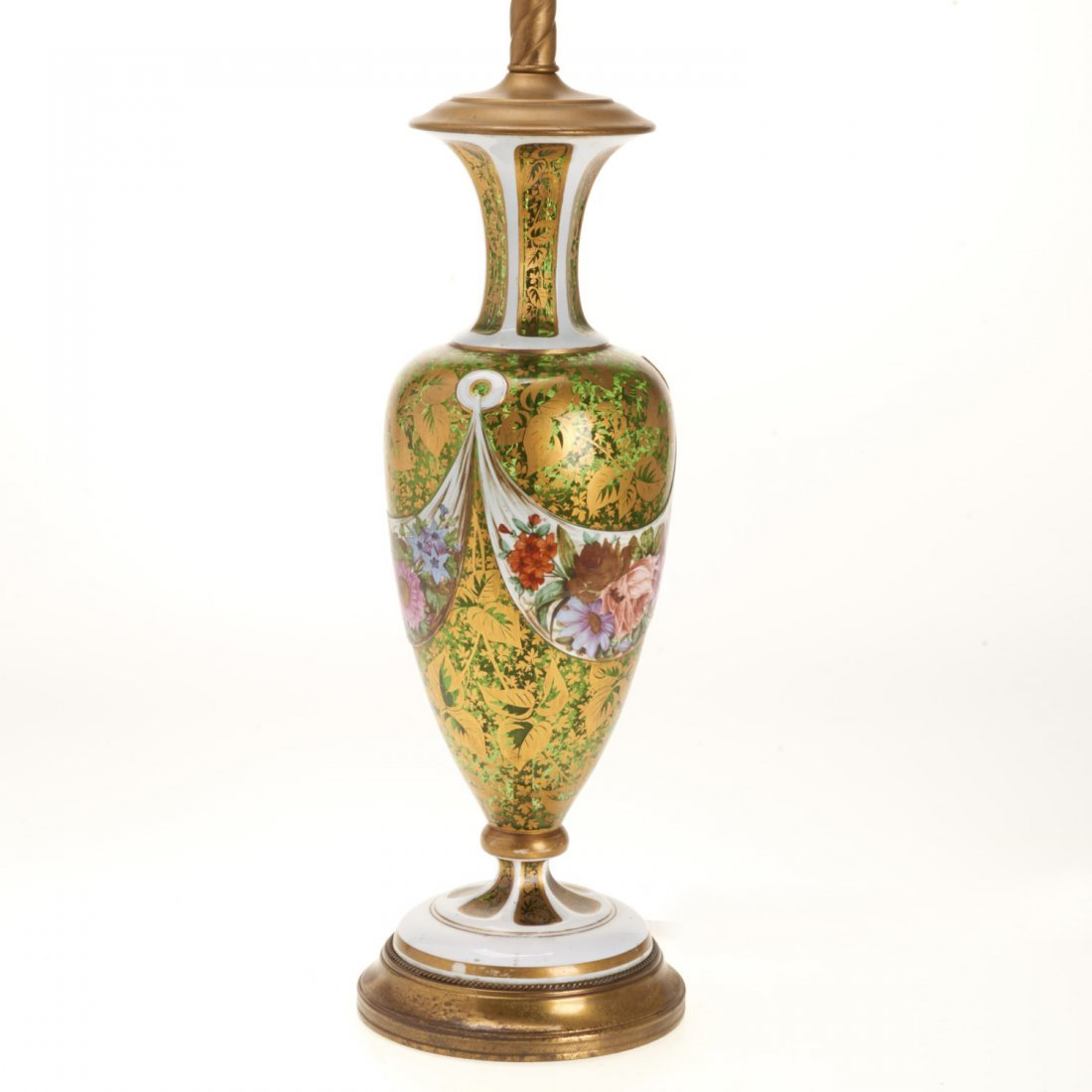 Bohemian gilt, enameled emerald glass vase lamp