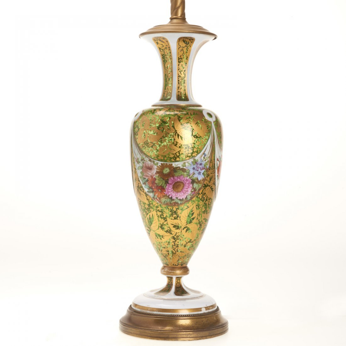 Bohemian gilt, enameled emerald glass vase lamp - 2