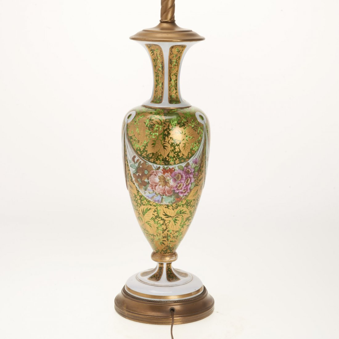 Bohemian gilt, enameled emerald glass vase lamp - 3