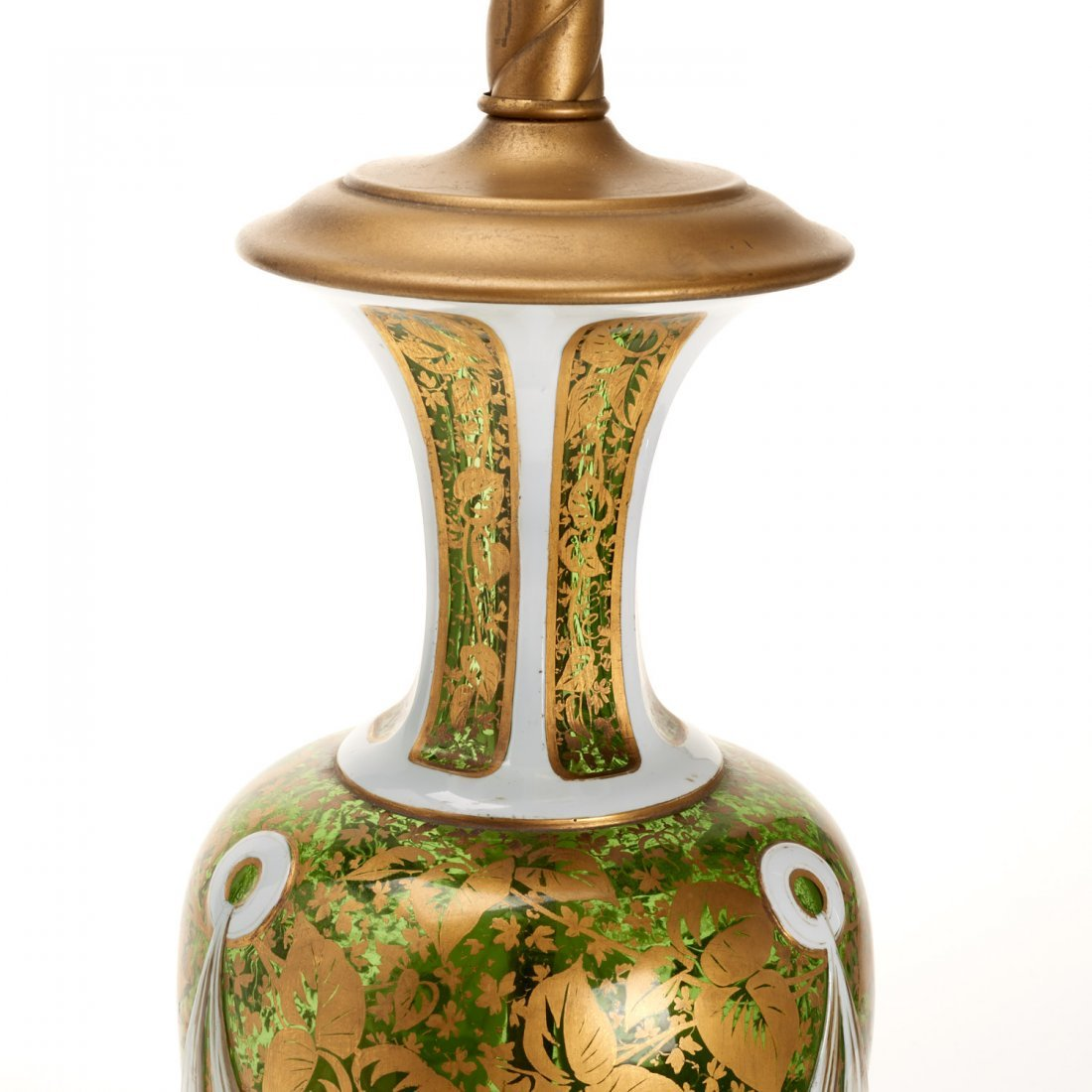 Bohemian gilt, enameled emerald glass vase lamp - 6