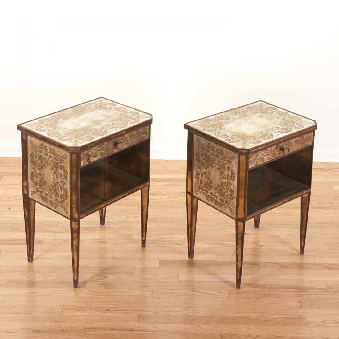 Pair Art Deco mirror paneled side tables