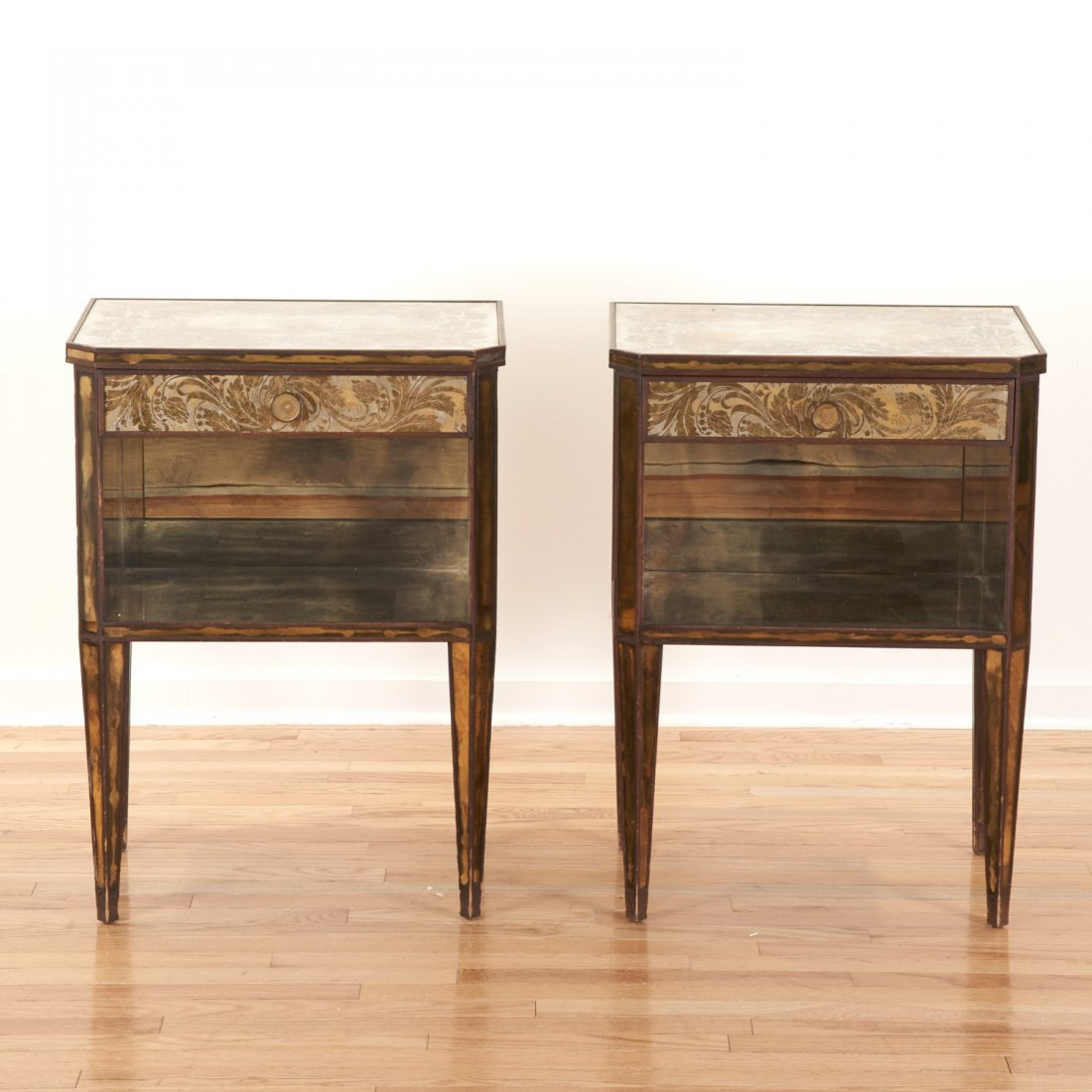 Pair Art Deco mirror paneled side tables - 2