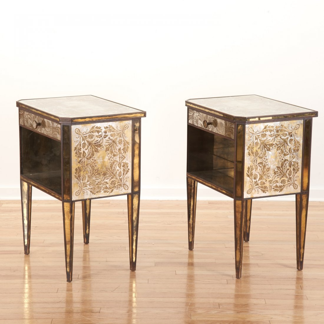 Pair Art Deco mirror paneled side tables - 4