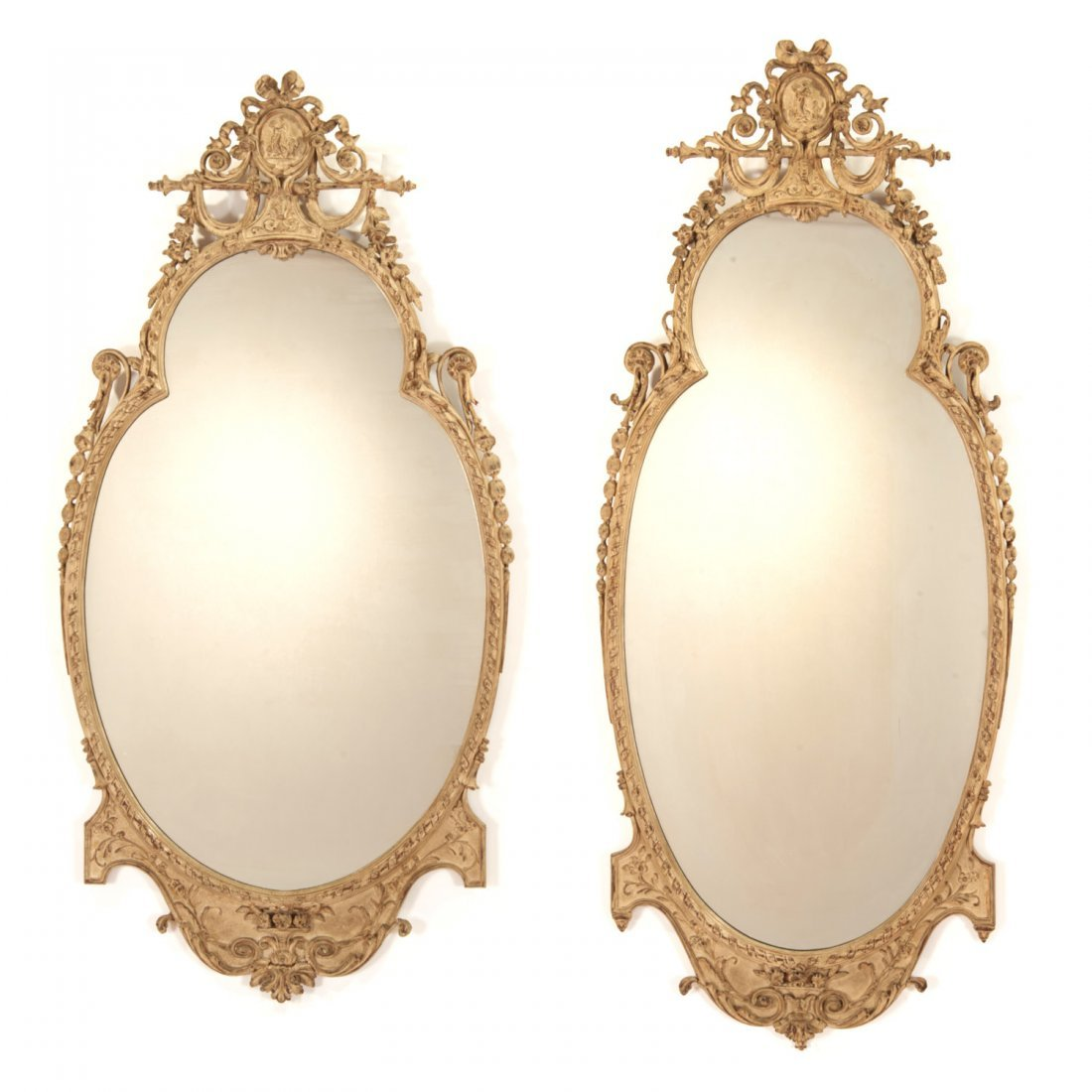 Pair George III style cream painted wall mirrors