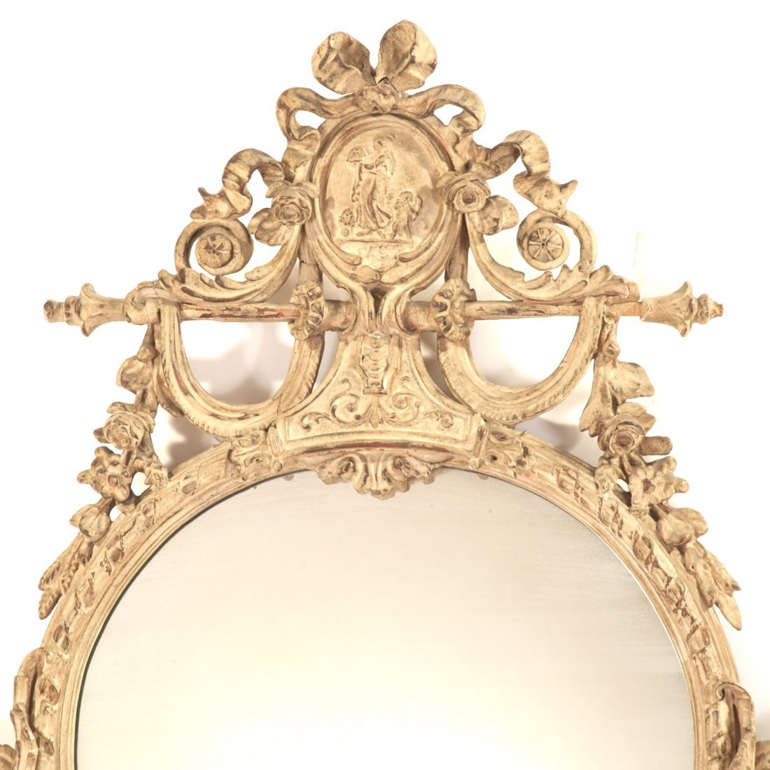 Pair George III style cream painted wall mirrors - 2