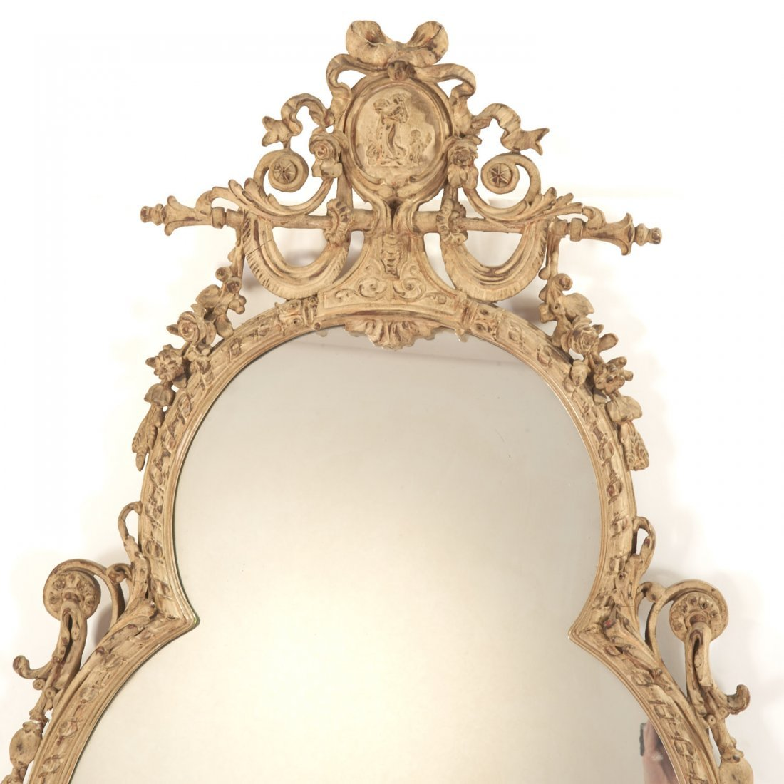 Pair George III style cream painted wall mirrors - 3