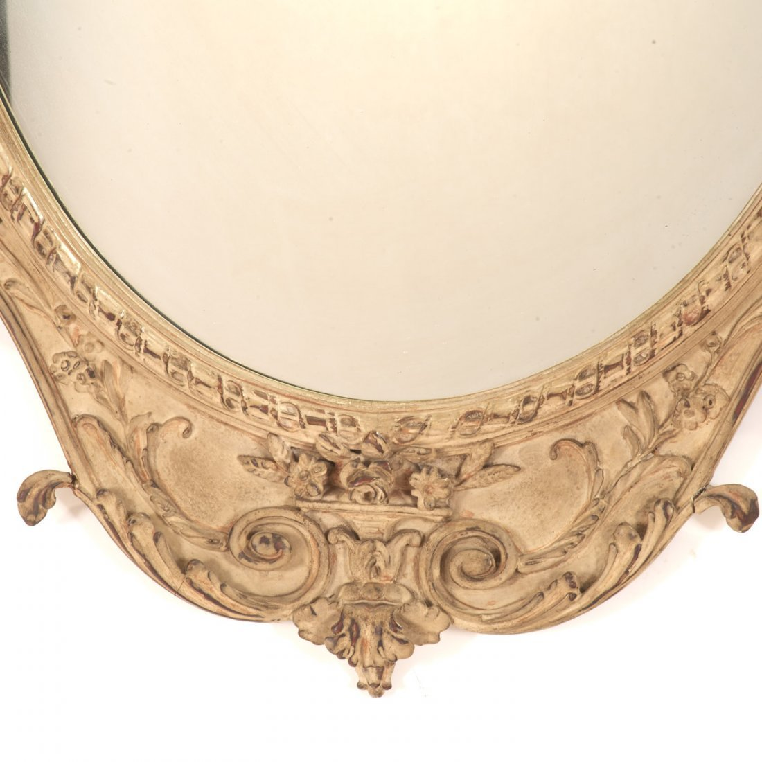 Pair George III style cream painted wall mirrors - 4