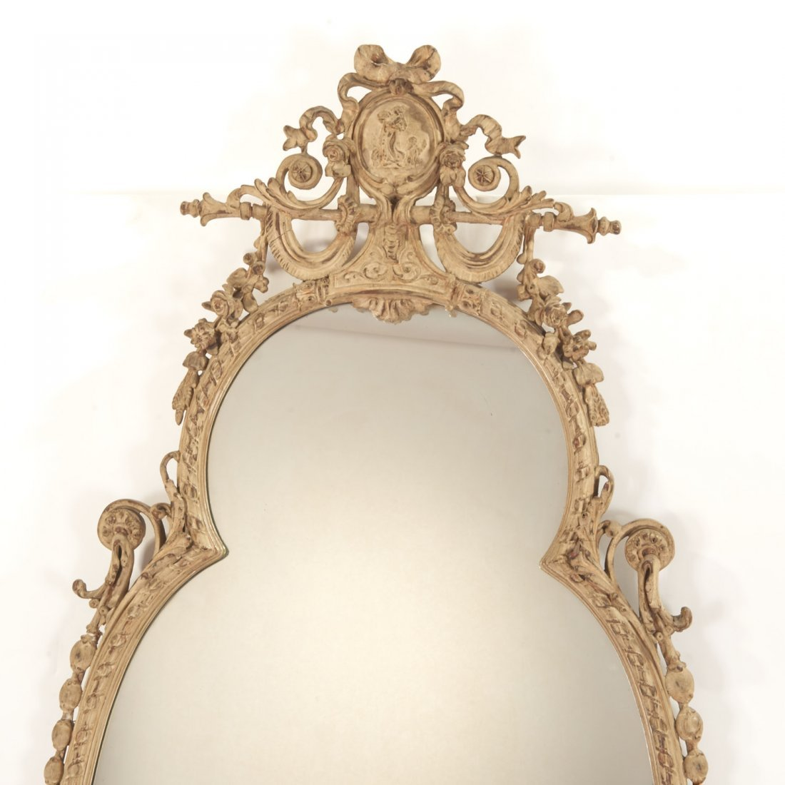 Pair George III style cream painted wall mirrors - 8