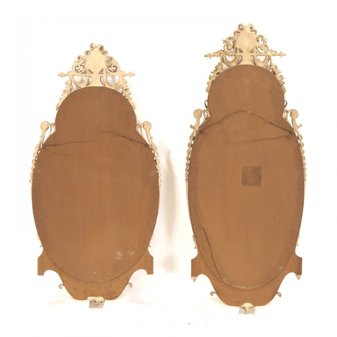 Pair George III style cream painted wall mirrors - 9