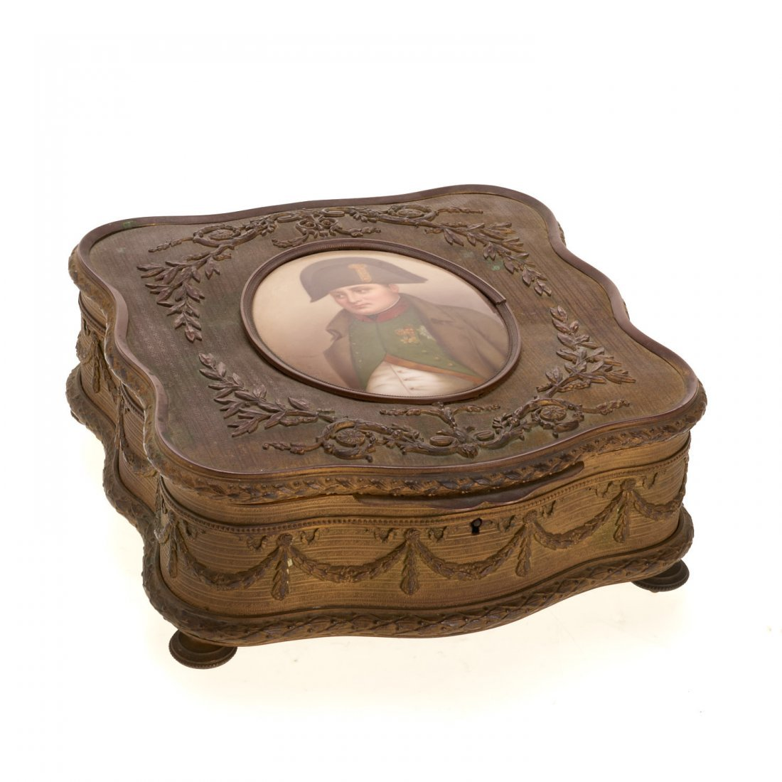 Napoleon III gilt bronze and porcelain box