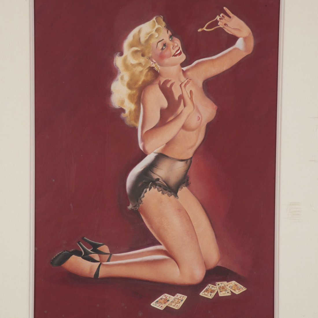 Manner of Gil Elvgren, pin-up painting - 2