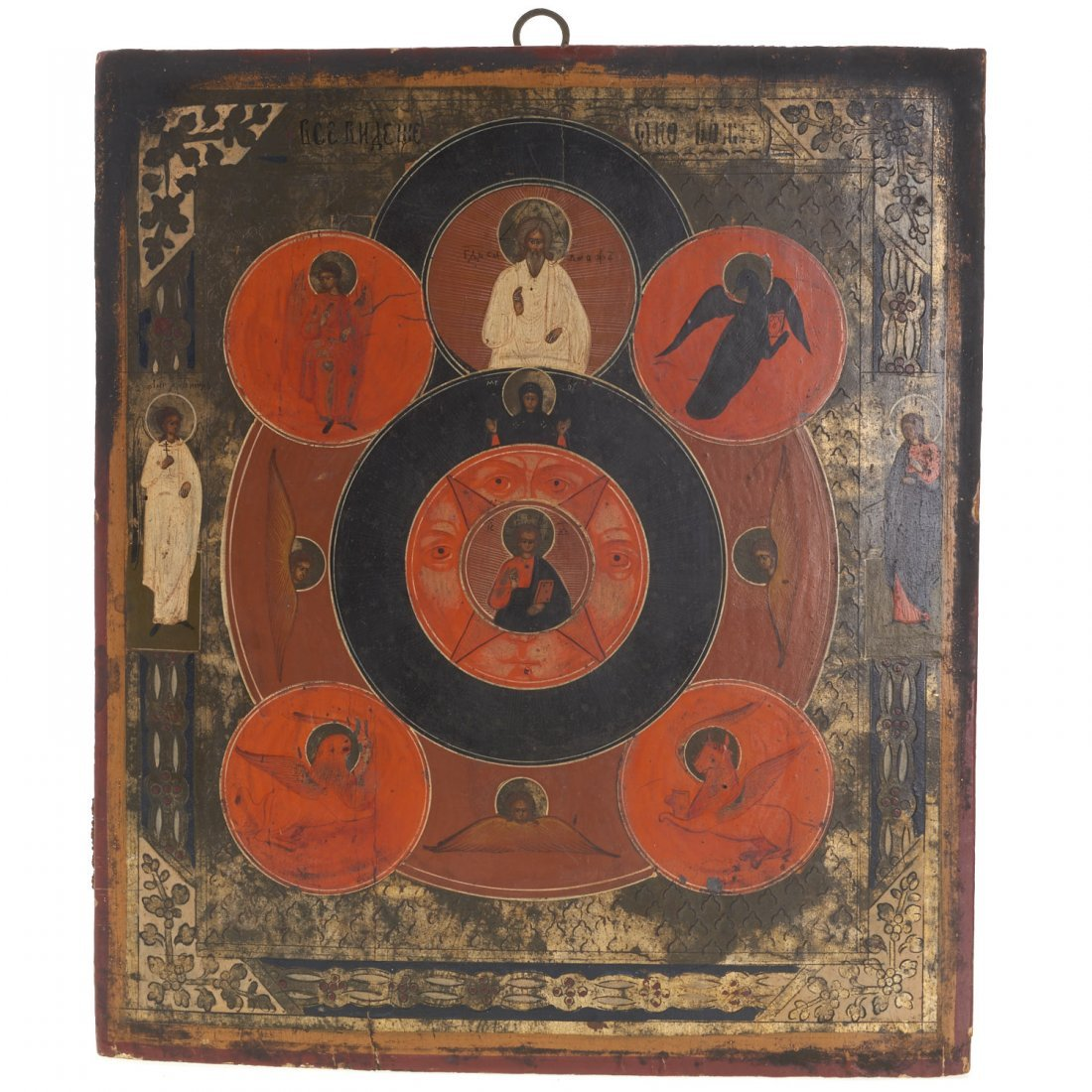 Russian polychrome wood icon of Christ