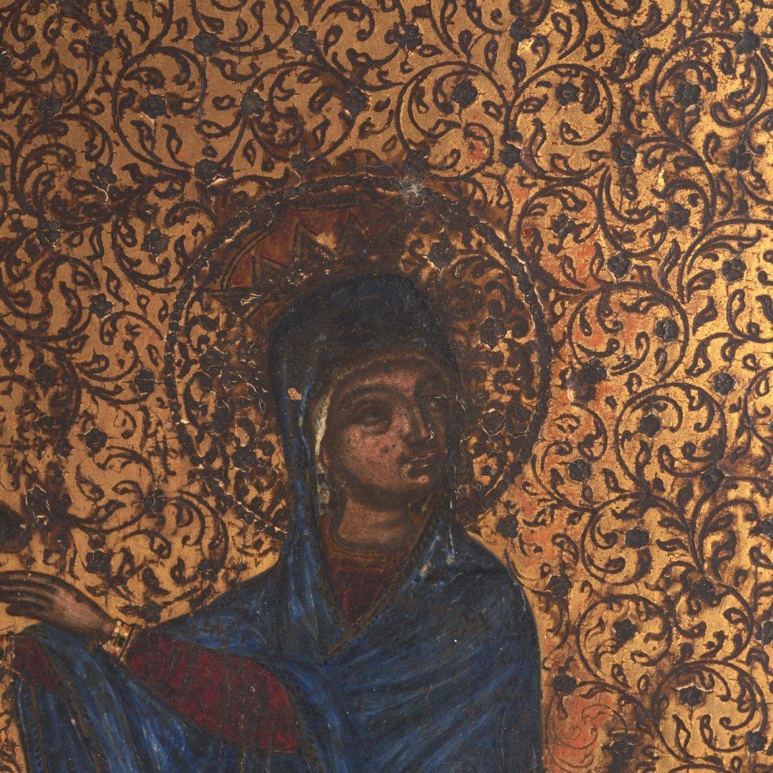 Greek polychrome wood icon of a female saint - 2
