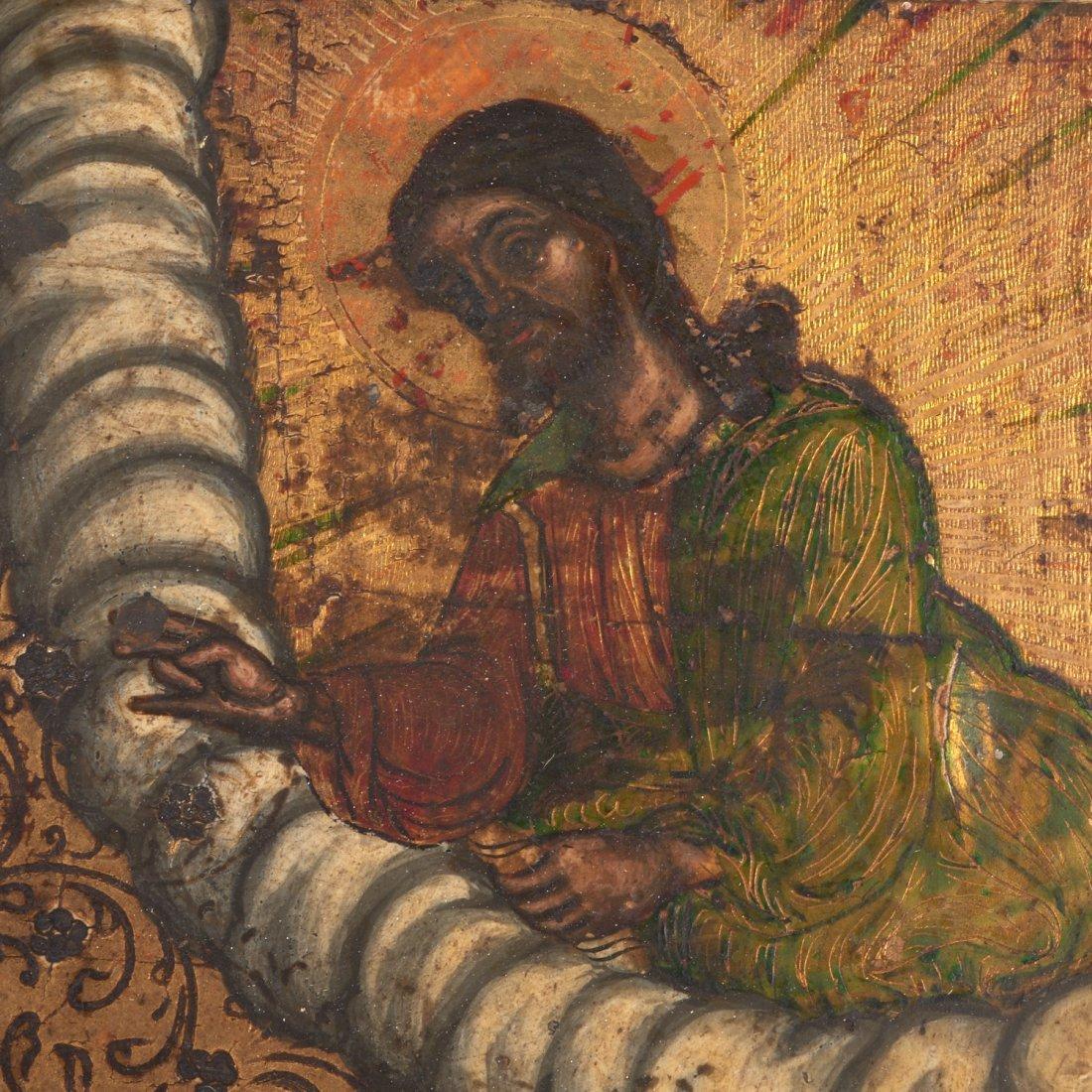 Greek polychrome wood icon of a female saint - 5