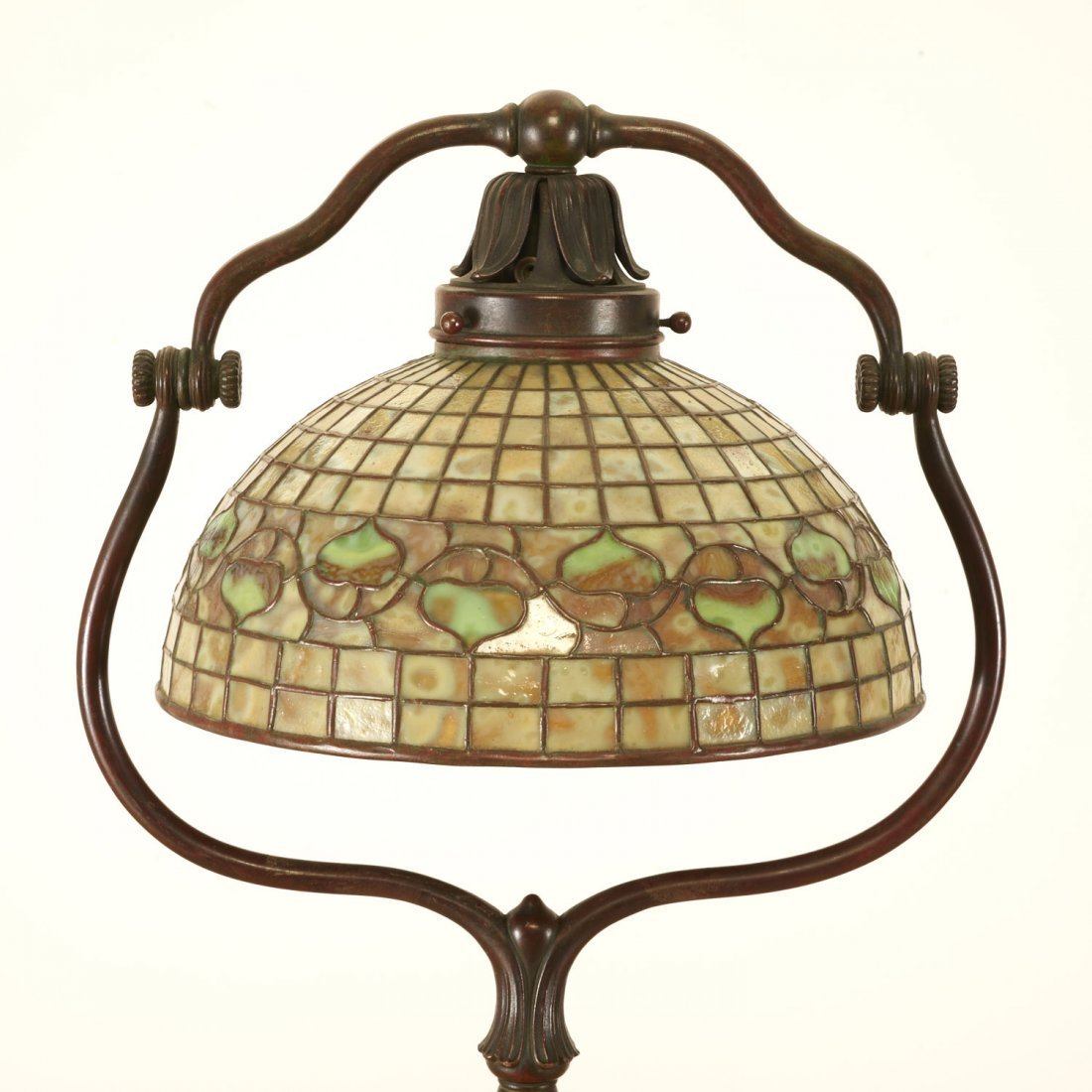 "Tiffany Studios bronze floor lamp ""Acorn"" shade"
