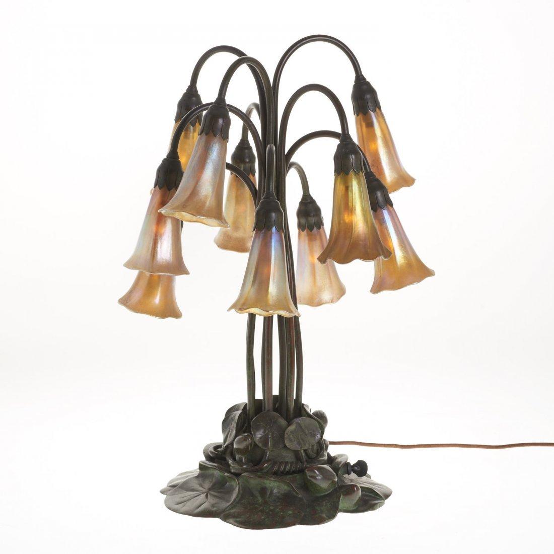 "Tiffany Studios style ten-light ""lily"" lamp"