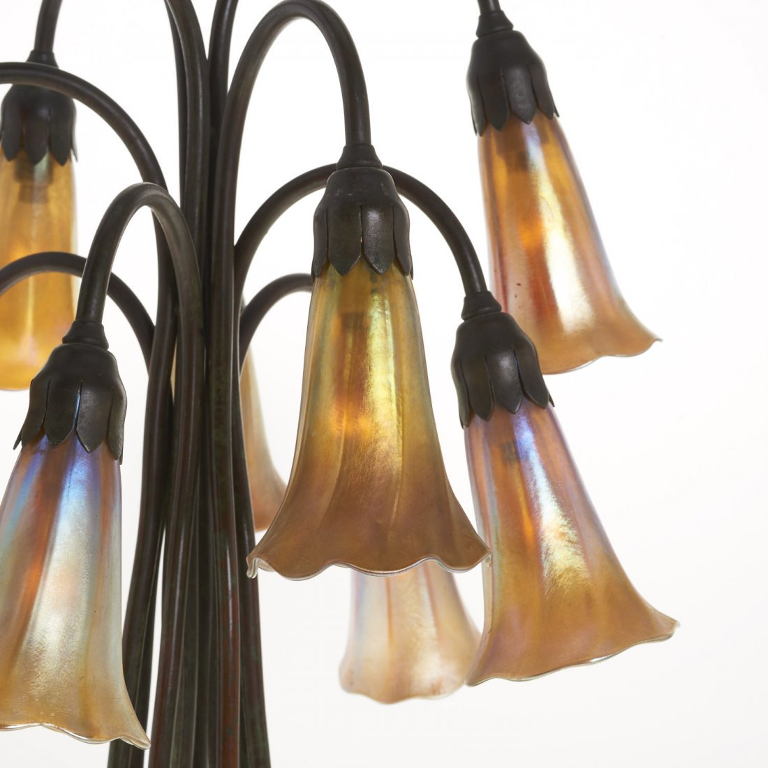 "Tiffany Studios style ten-light ""lily"" lamp - 5"