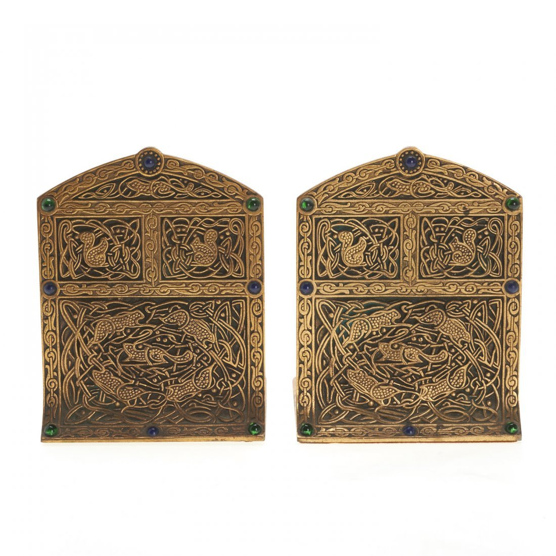 "Pair Tiffany Studios ""9th Century"" bronze bookends"