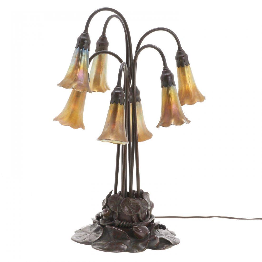 "Tiffany Studios seven-light favrile ""lily"" lamp"