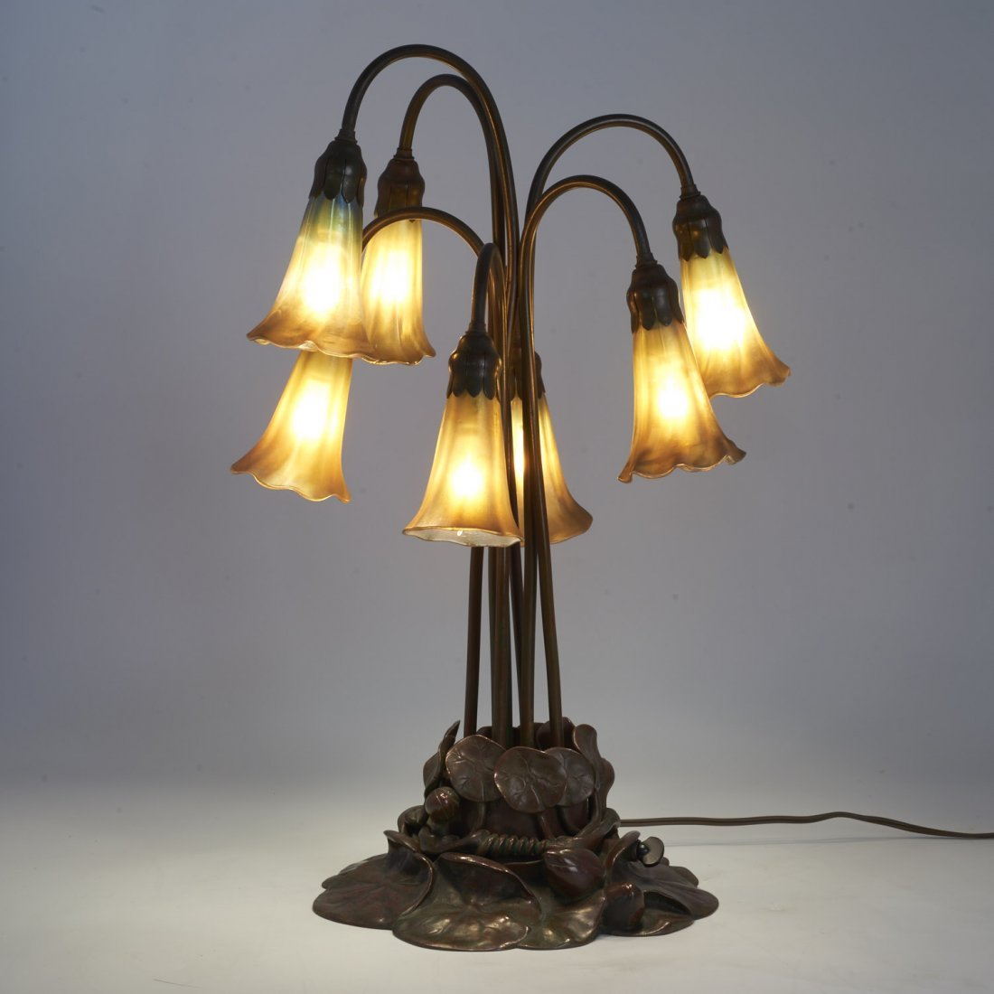 "Tiffany Studios seven-light favrile ""lily"" lamp - 2"