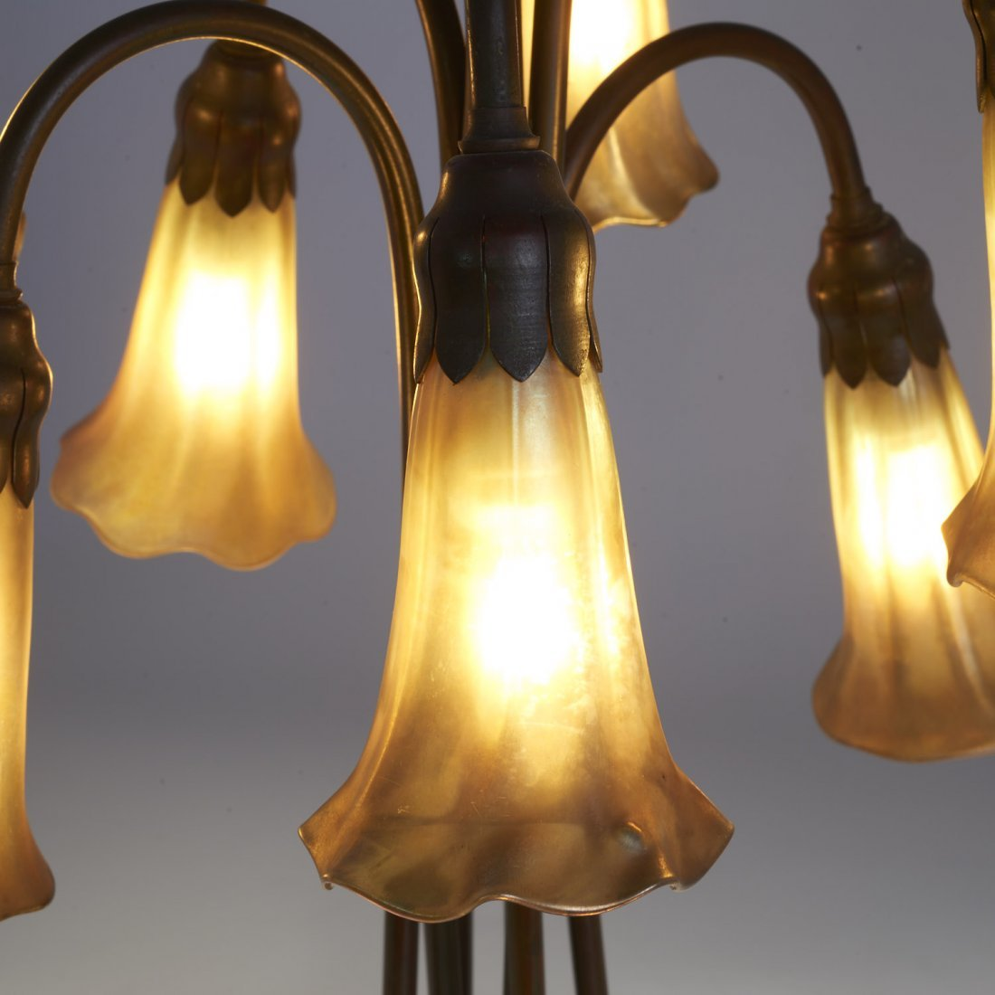 "Tiffany Studios seven-light favrile ""lily"" lamp - 3"