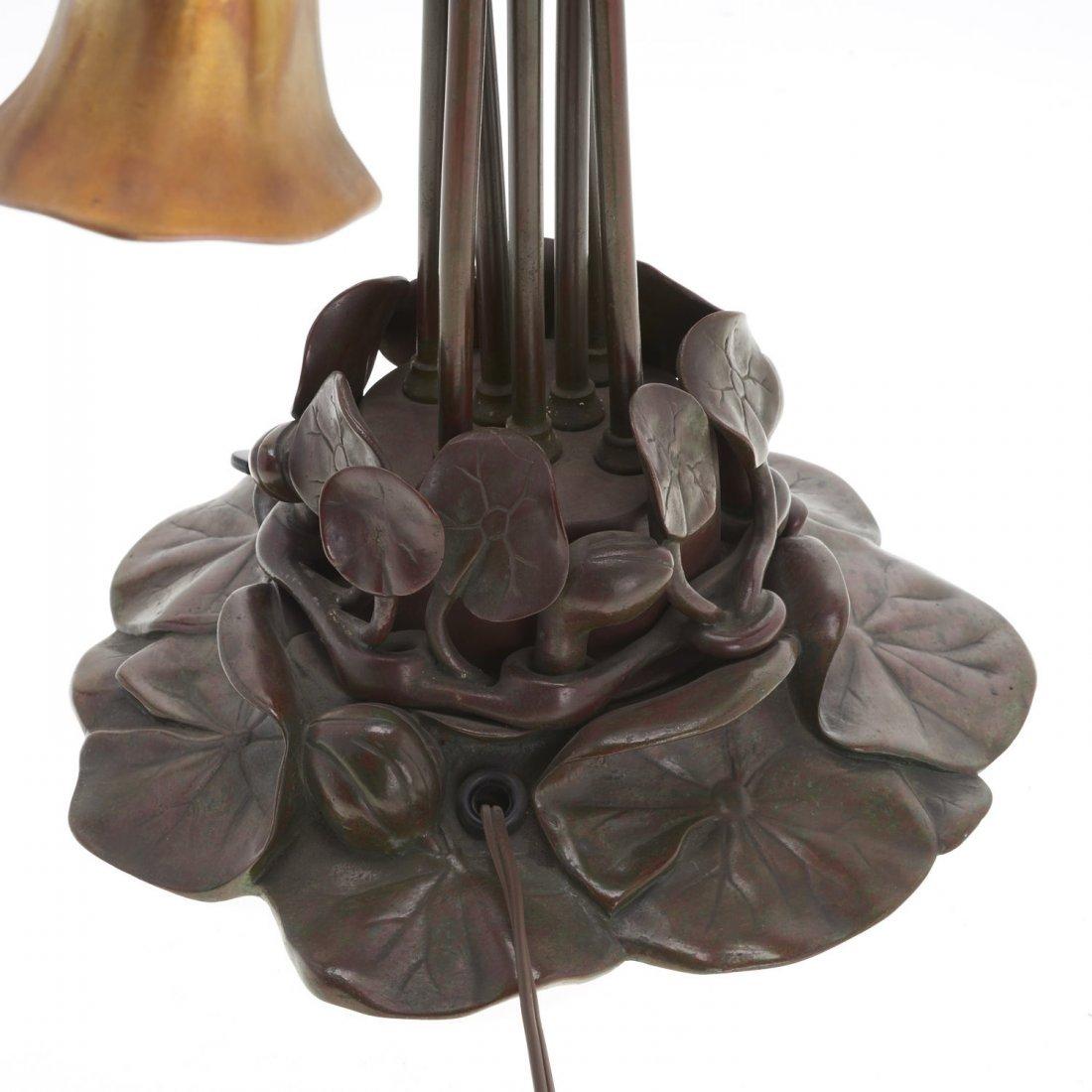"Tiffany Studios seven-light favrile ""lily"" lamp - 7"