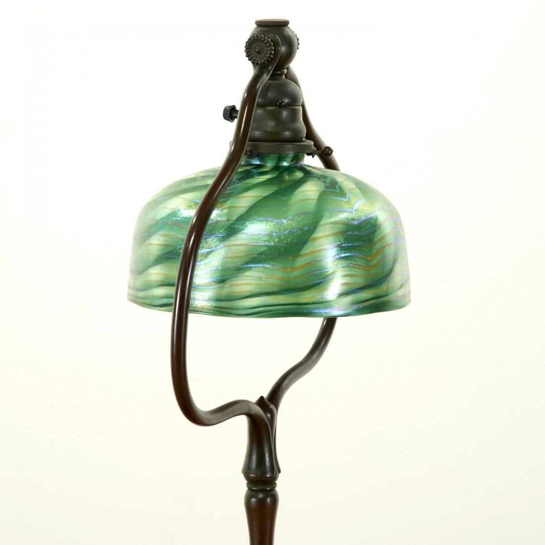 Attr. Tiffany Studios bronze, damascene floor lamp - 3