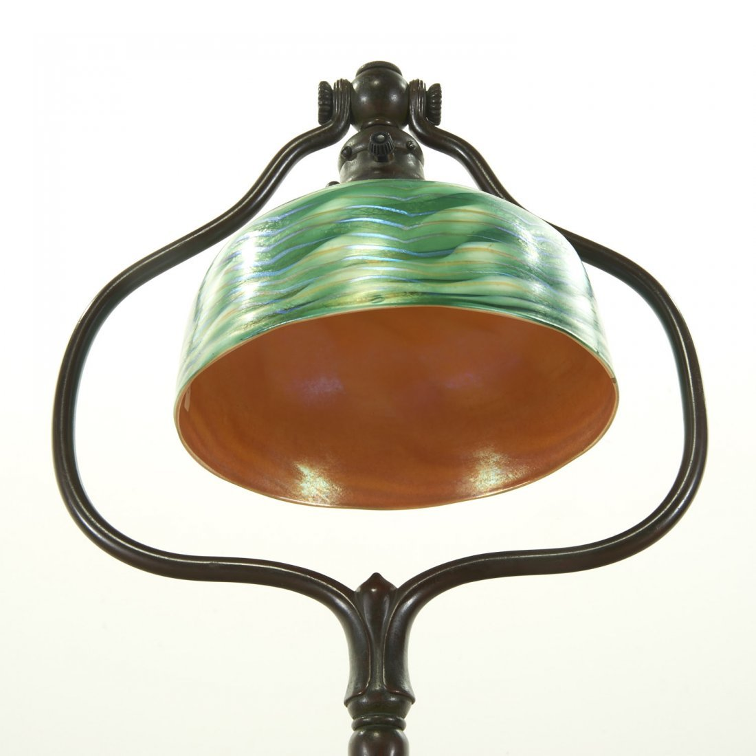 Attr. Tiffany Studios bronze, damascene floor lamp - 6