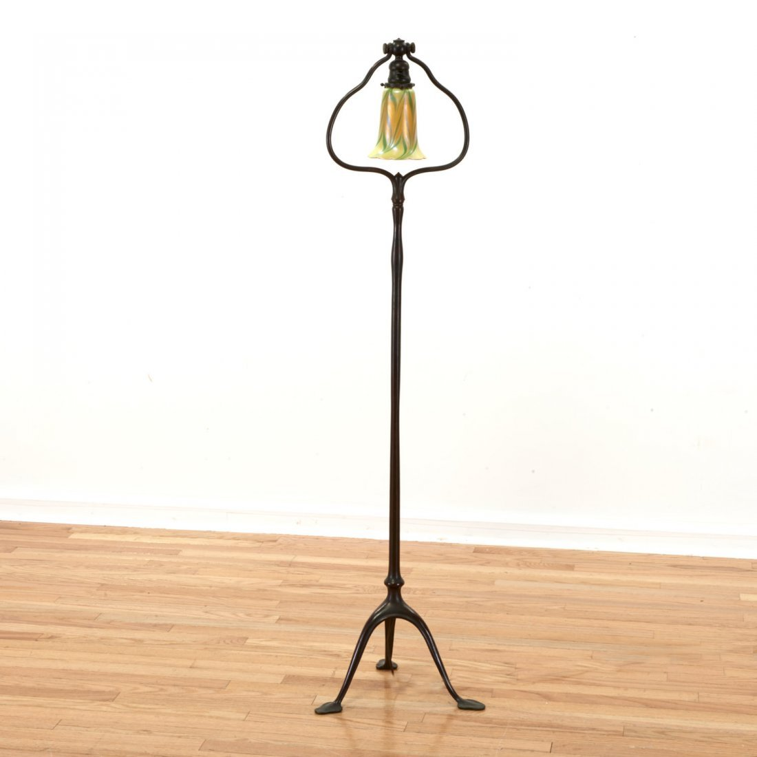 Tiffany style bronze harp and favrile floor lamp