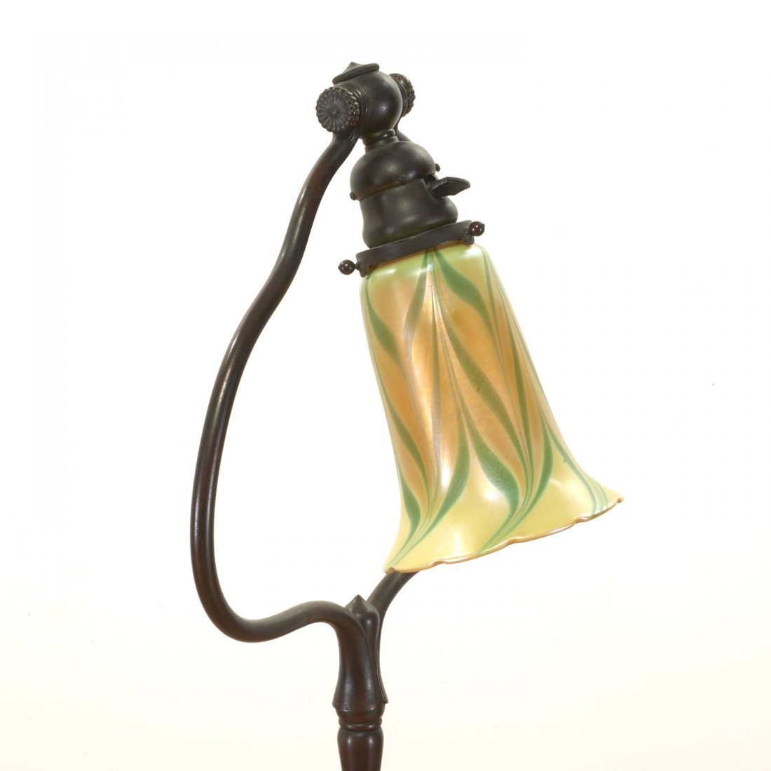 Tiffany style bronze harp and favrile floor lamp - 3
