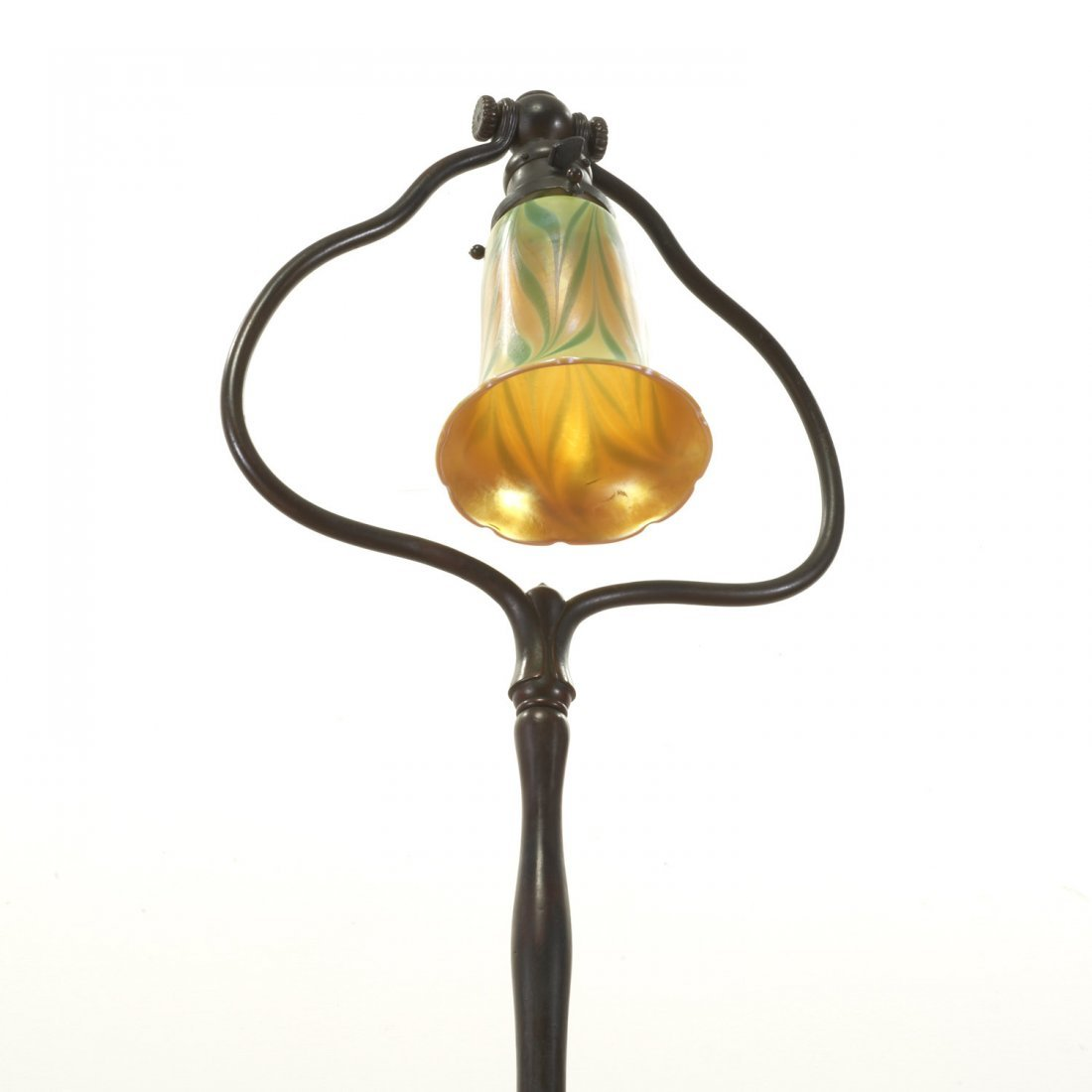 Tiffany style bronze harp and favrile floor lamp - 5