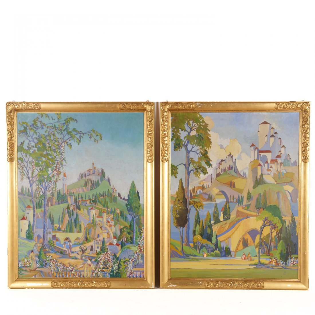 Pair paintings commissioned for Art Deco theatre