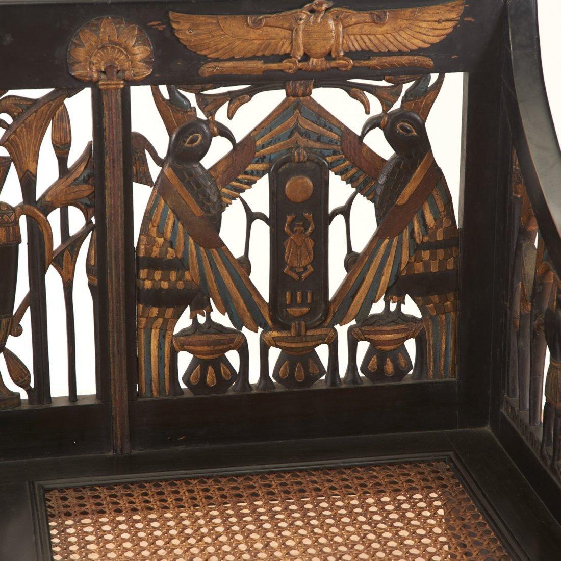 Egyptian Revival gilt and ebonized parlor settee - 3