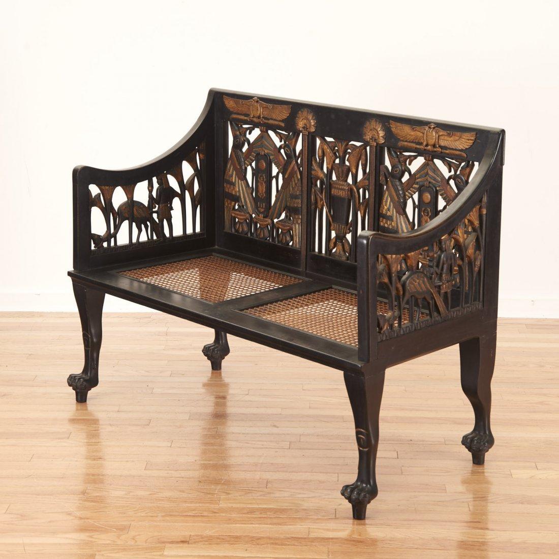 Egyptian Revival gilt and ebonized parlor settee - 6