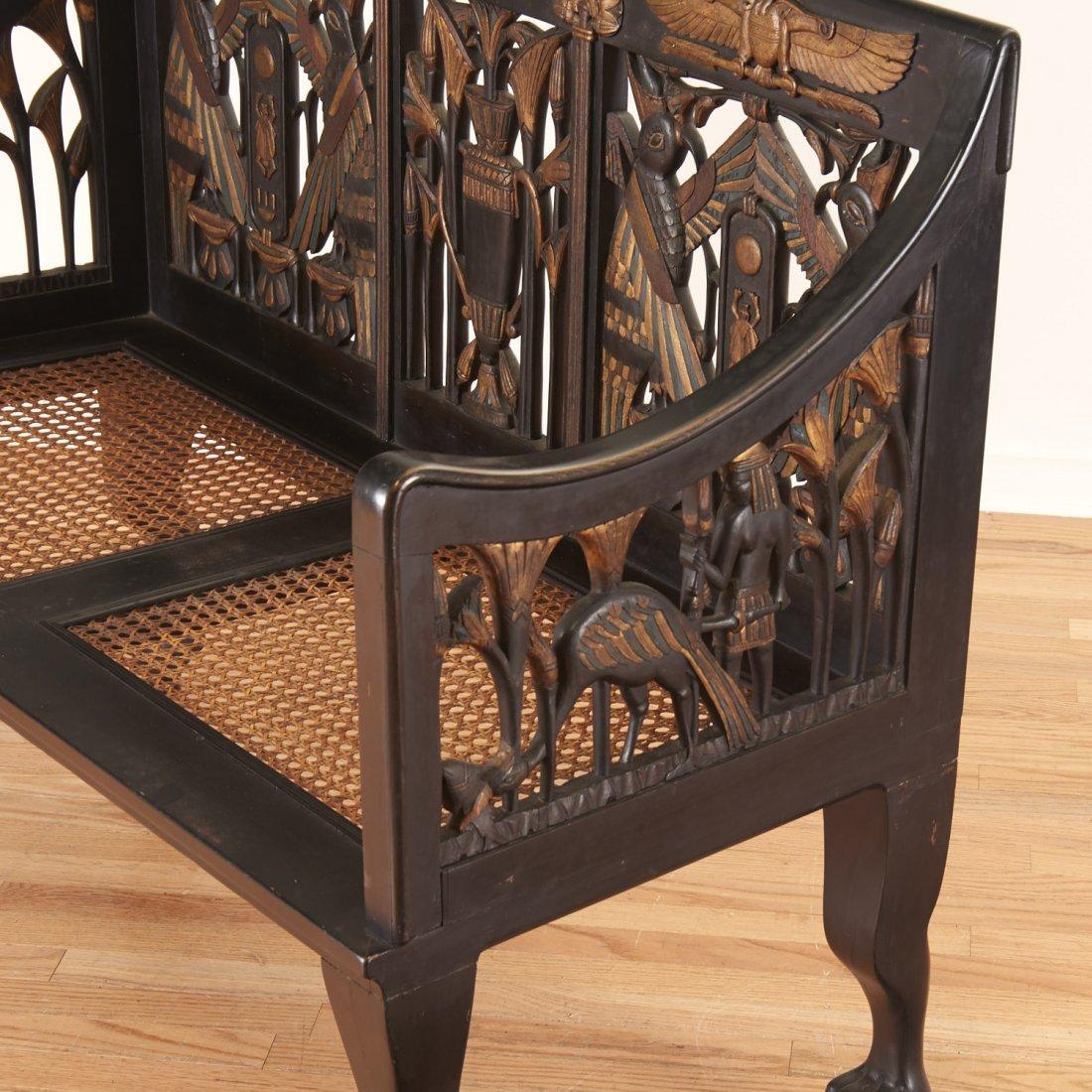 Egyptian Revival gilt and ebonized parlor settee - 7