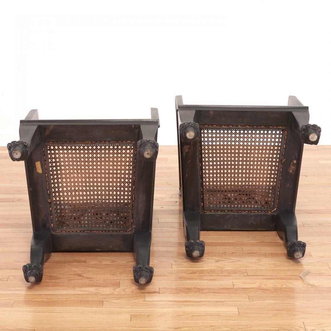 Pair Egyptian Revival gilt and ebonized armchairs - 10