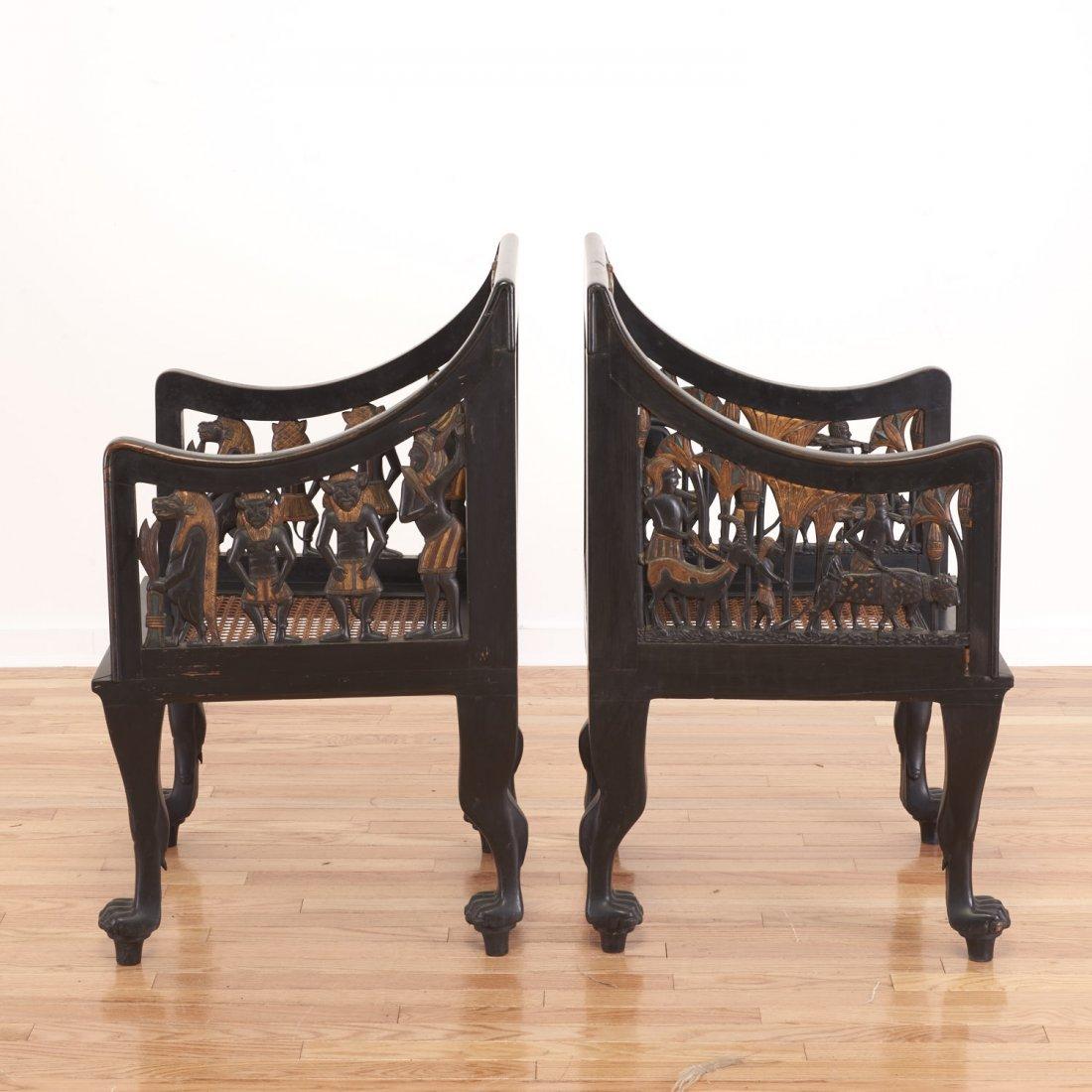 Pair Egyptian Revival gilt and ebonized armchairs - 3