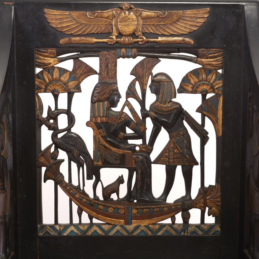Pair Egyptian Revival gilt and ebonized armchairs - 5