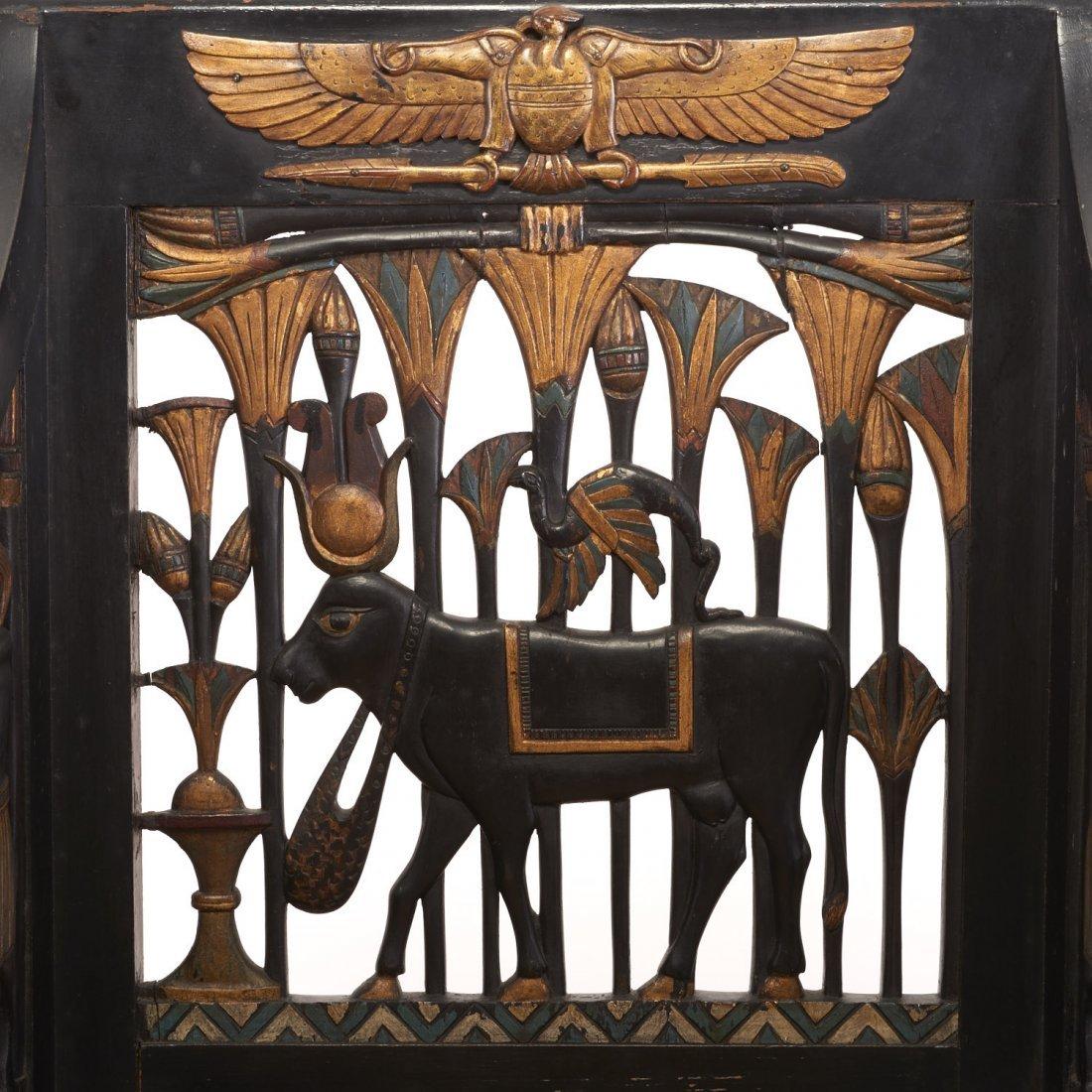Pair Egyptian Revival gilt and ebonized armchairs - 6