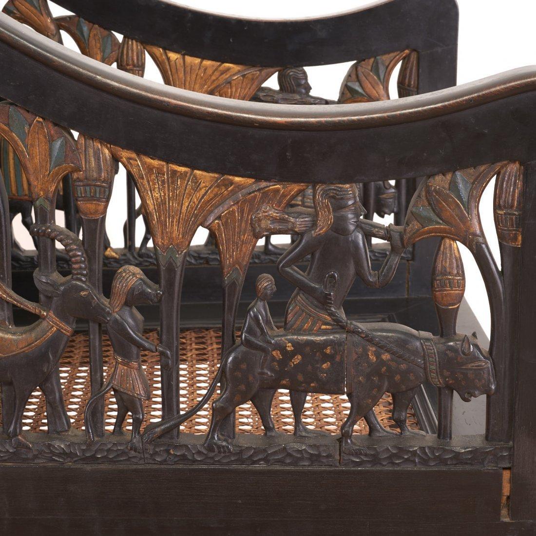 Pair Egyptian Revival gilt and ebonized armchairs - 7