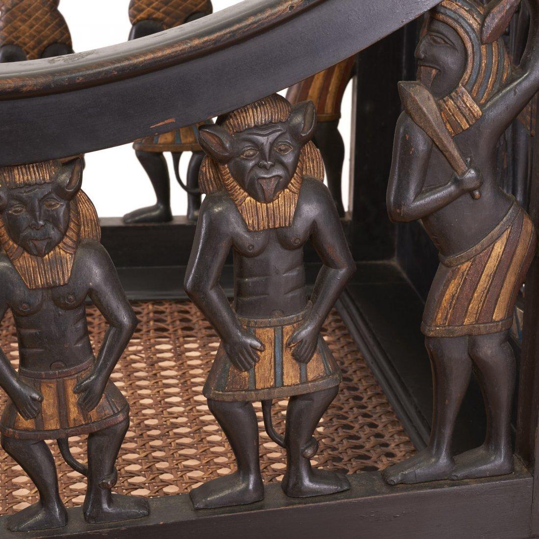 Pair Egyptian Revival gilt and ebonized armchairs - 8