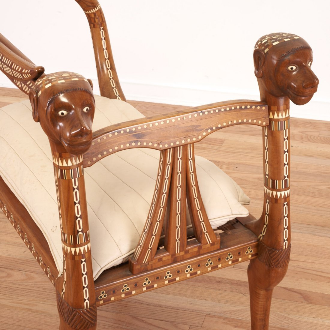 Nice Egyptian revival inlaid fruitwood settee - 5