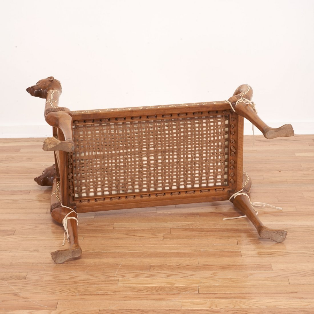 Nice Egyptian revival inlaid fruitwood settee - 9